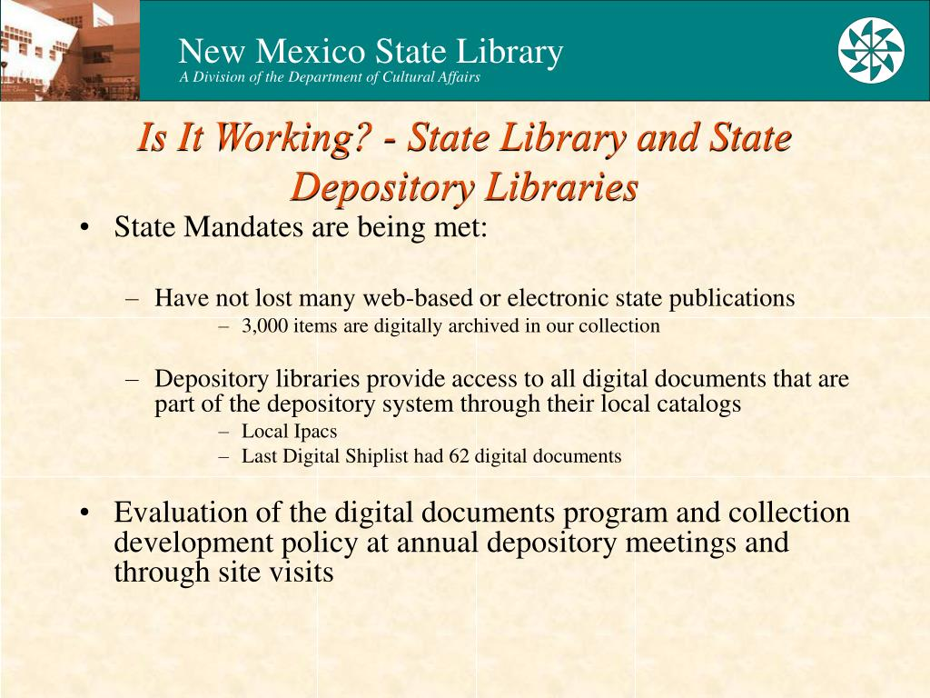 Is It Working? - State Library and State Depository Libraries