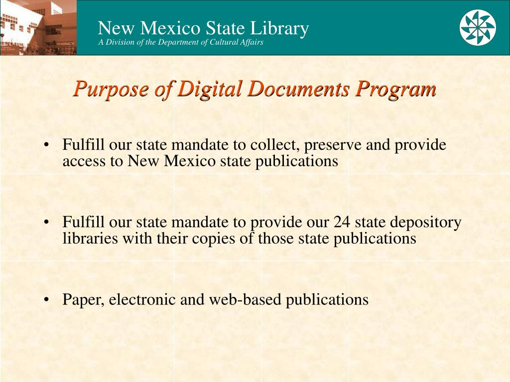 Purpose of Digital Documents Program