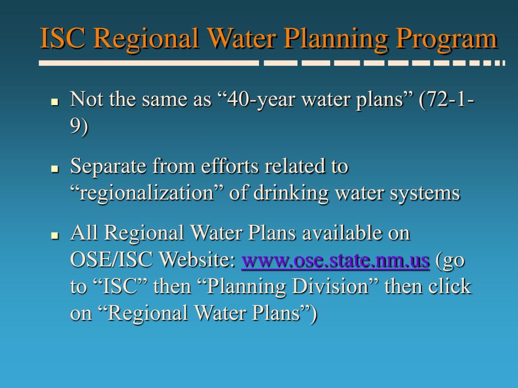 ISC Regional Water Planning Program