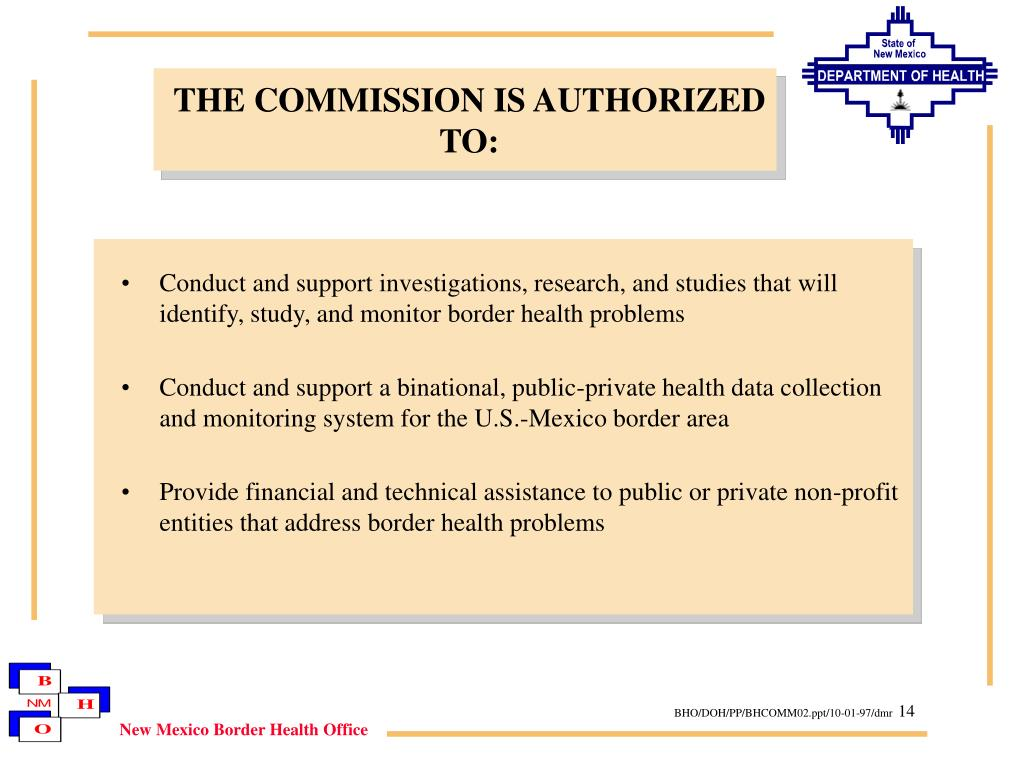THE COMMISSION IS AUTHORIZED TO: