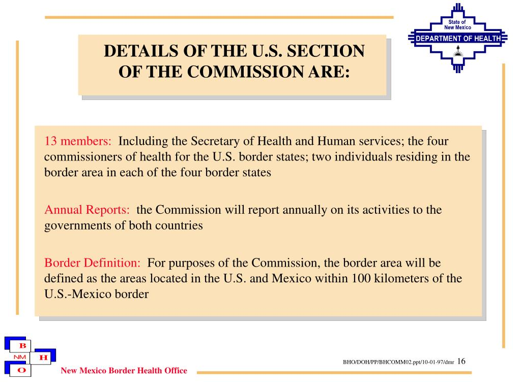 DETAILS OF THE U.S. SECTION
