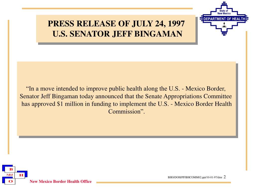 PRESS RELEASE OF JULY 24, 1997