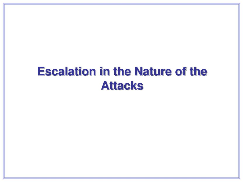Escalation in the Nature of the Attacks