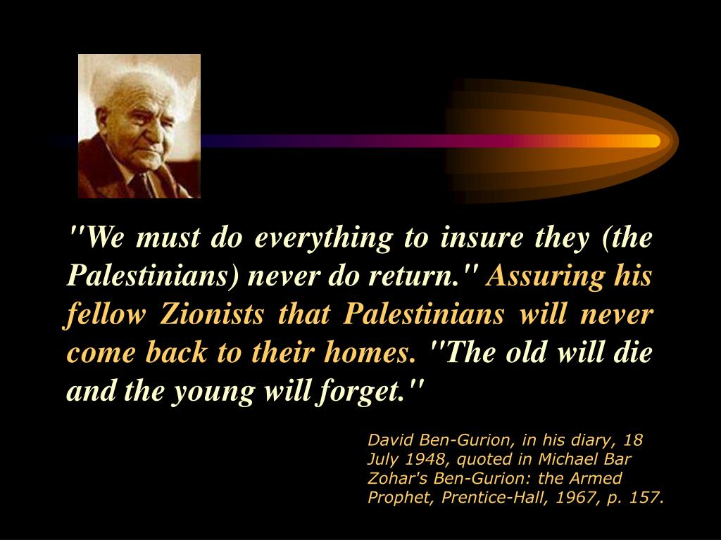 """We must do everything to insure they (the Palestinians) never do return."""