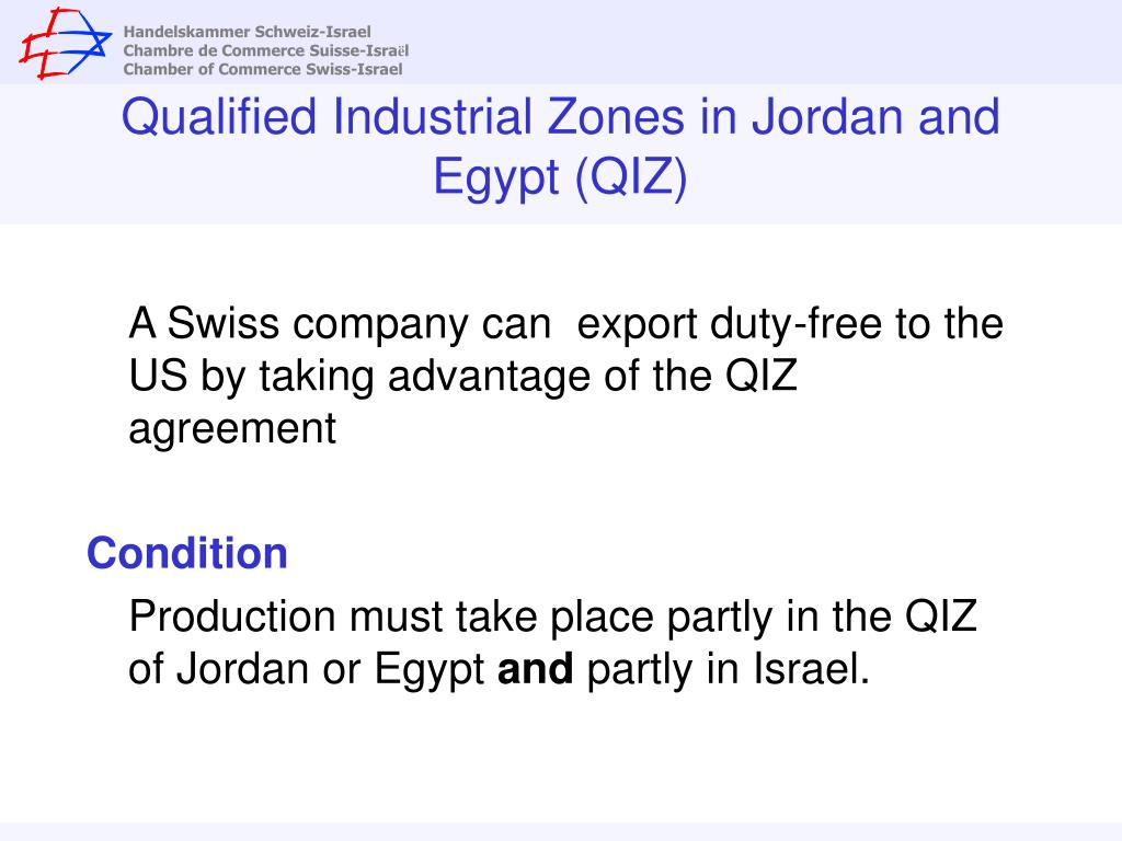 Qualified Industrial Zones in Jordan and Egypt (QIZ)