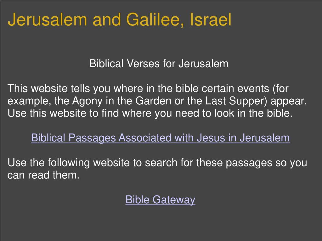 Jerusalem and Galilee, Israel