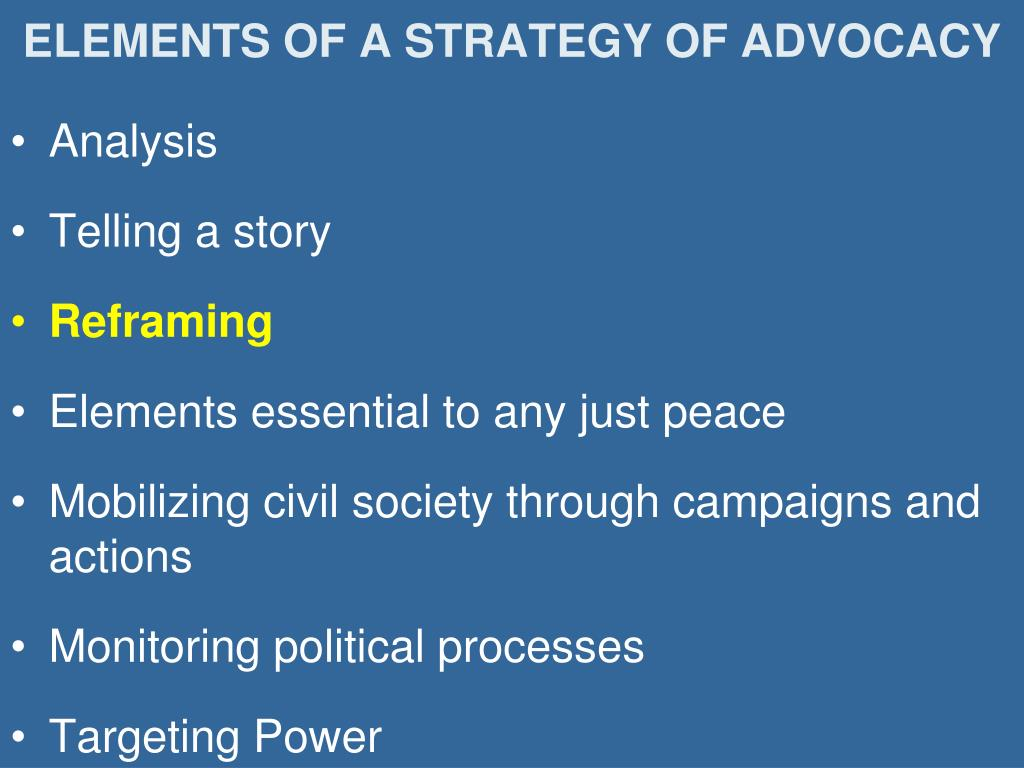 ELEMENTS OF A STRATEGY OF ADVOCACY