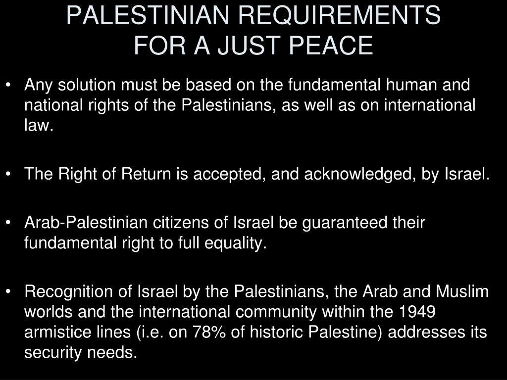 PALESTINIAN REQUIREMENTS
