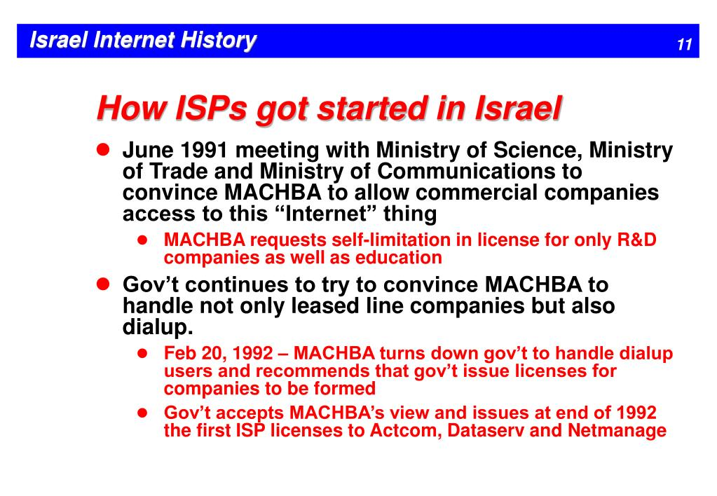 How ISPs got started in Israel
