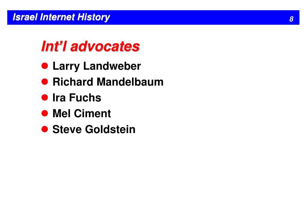 Int'l advocates