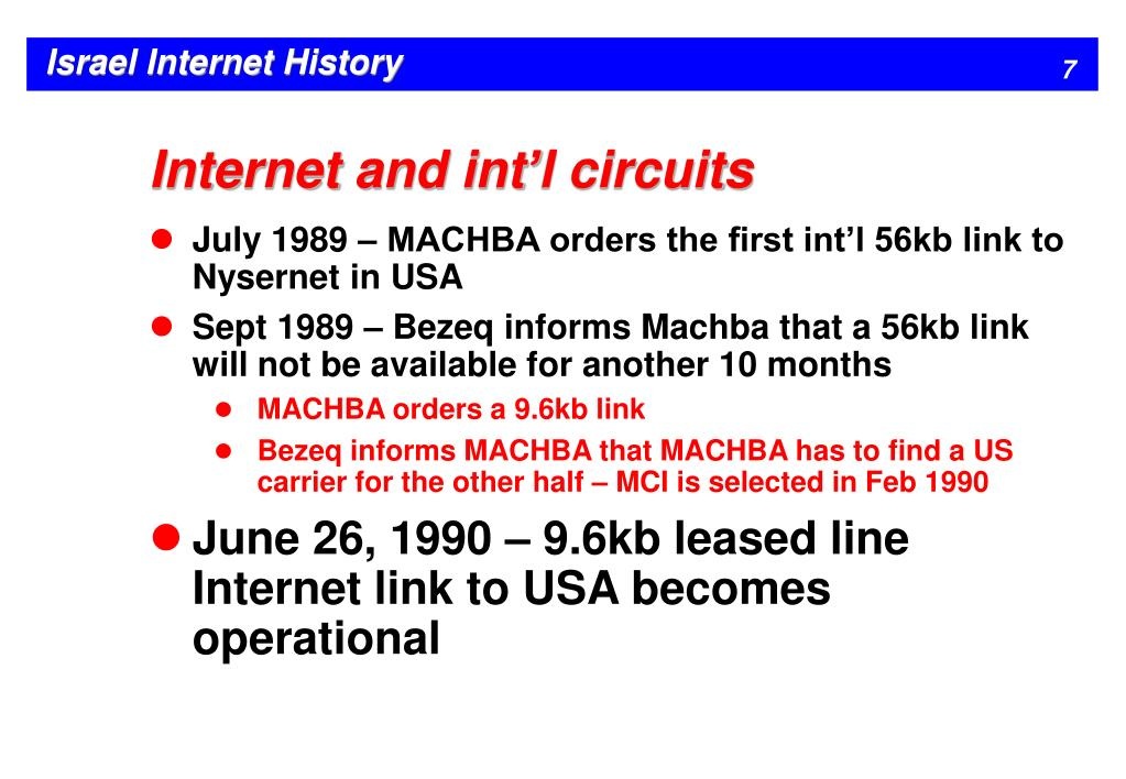 Internet and int'l circuits