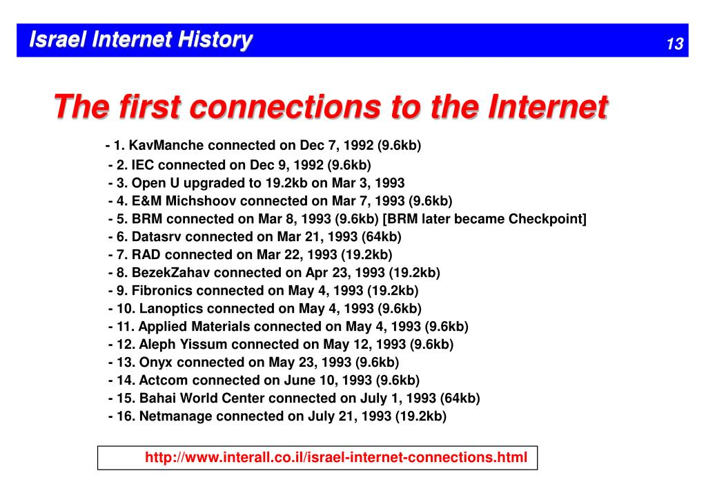 The first connections to the Internet