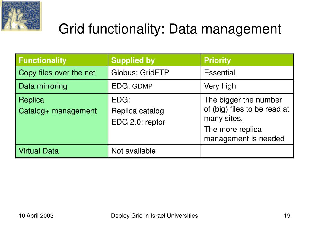 Grid functionality: Data management