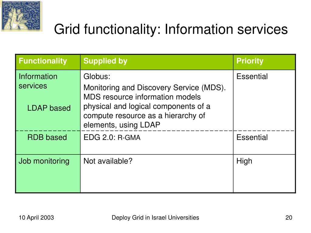 Grid functionality: Information services