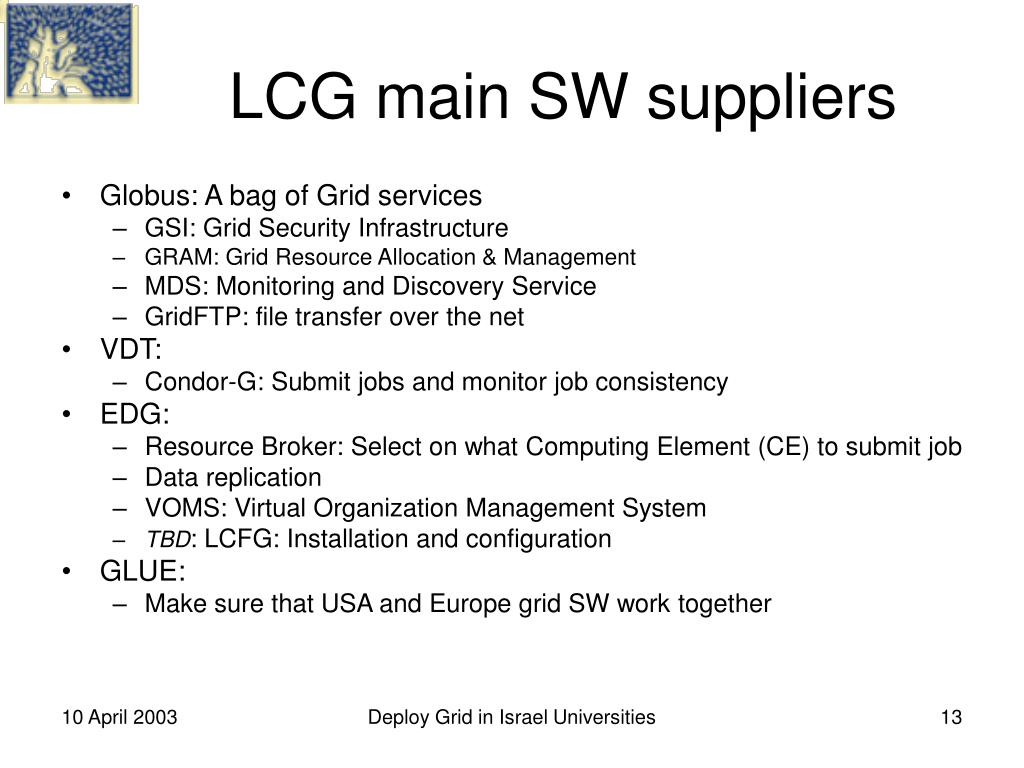 LCG main SW suppliers