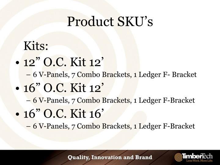 Product SKU's