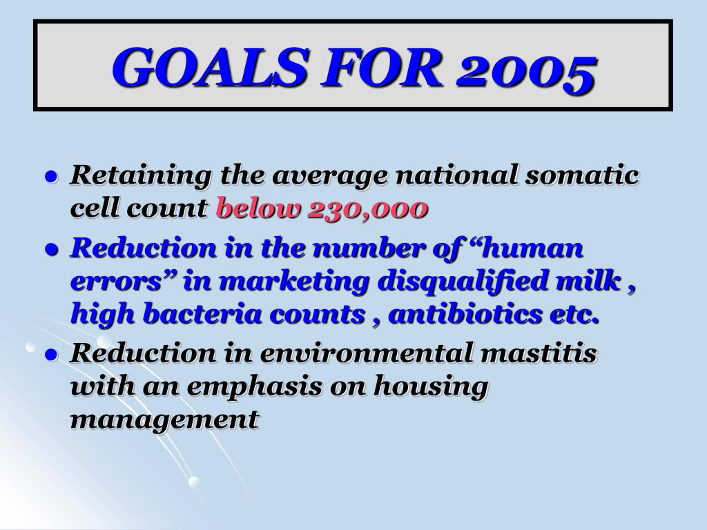 GOALS FOR 2005