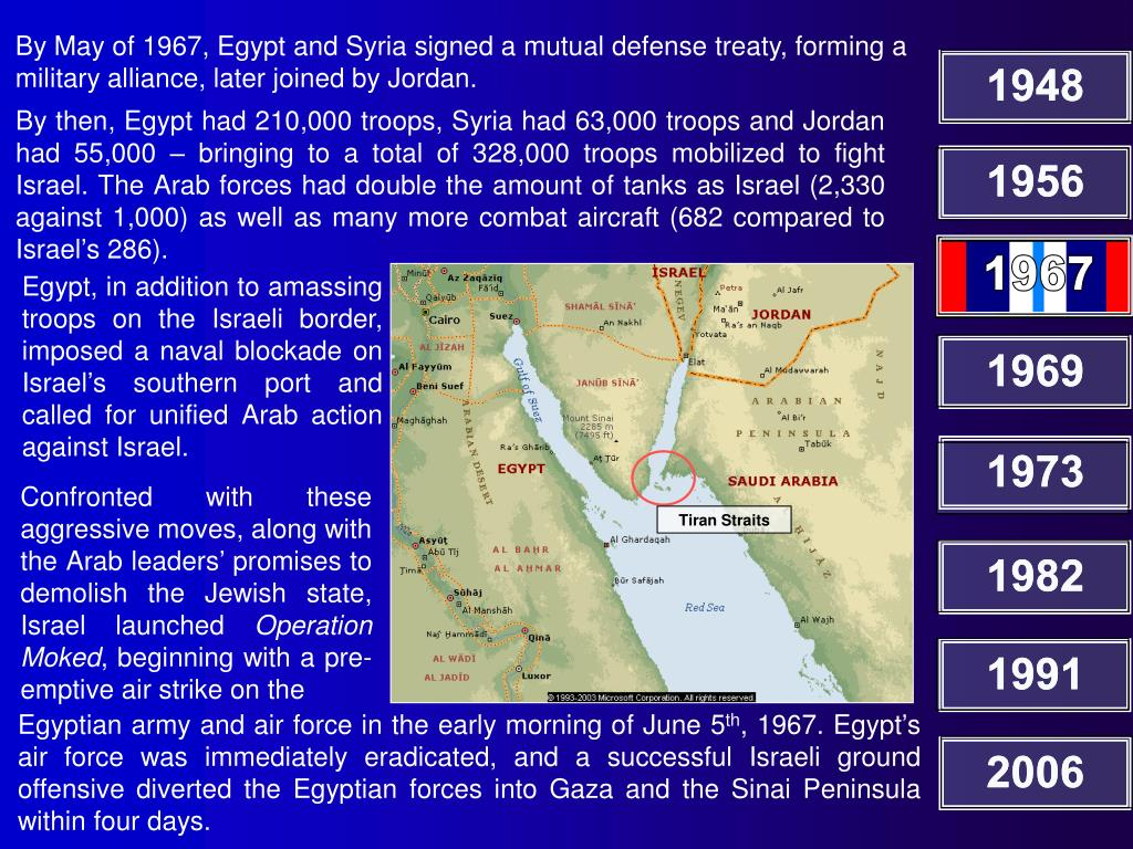 By May of 1967, Egypt and Syria signed a mutual defense treaty, forming a military alliance, later joined by Jordan.