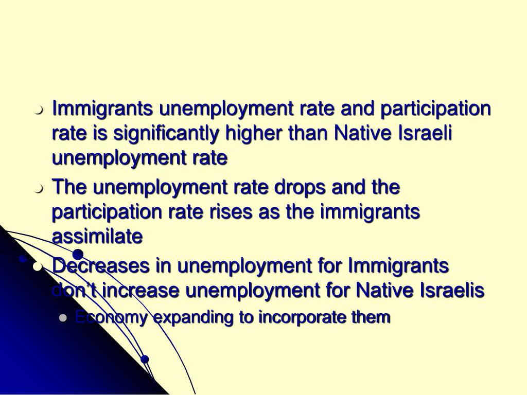 Immigrants unemployment rate and participation rate is significantly higher than Native Israeli unemployment rate