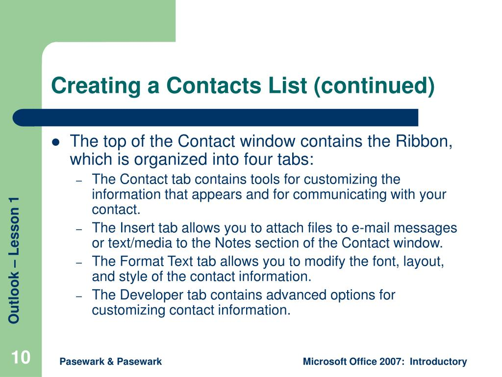 Creating a Contacts List (continued)