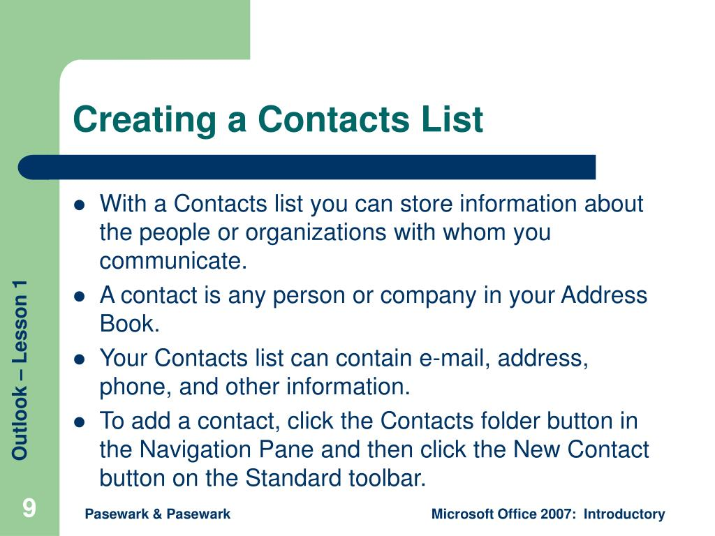 Creating a Contacts List