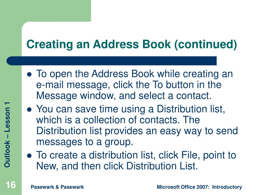 Creating an Address Book (continued)