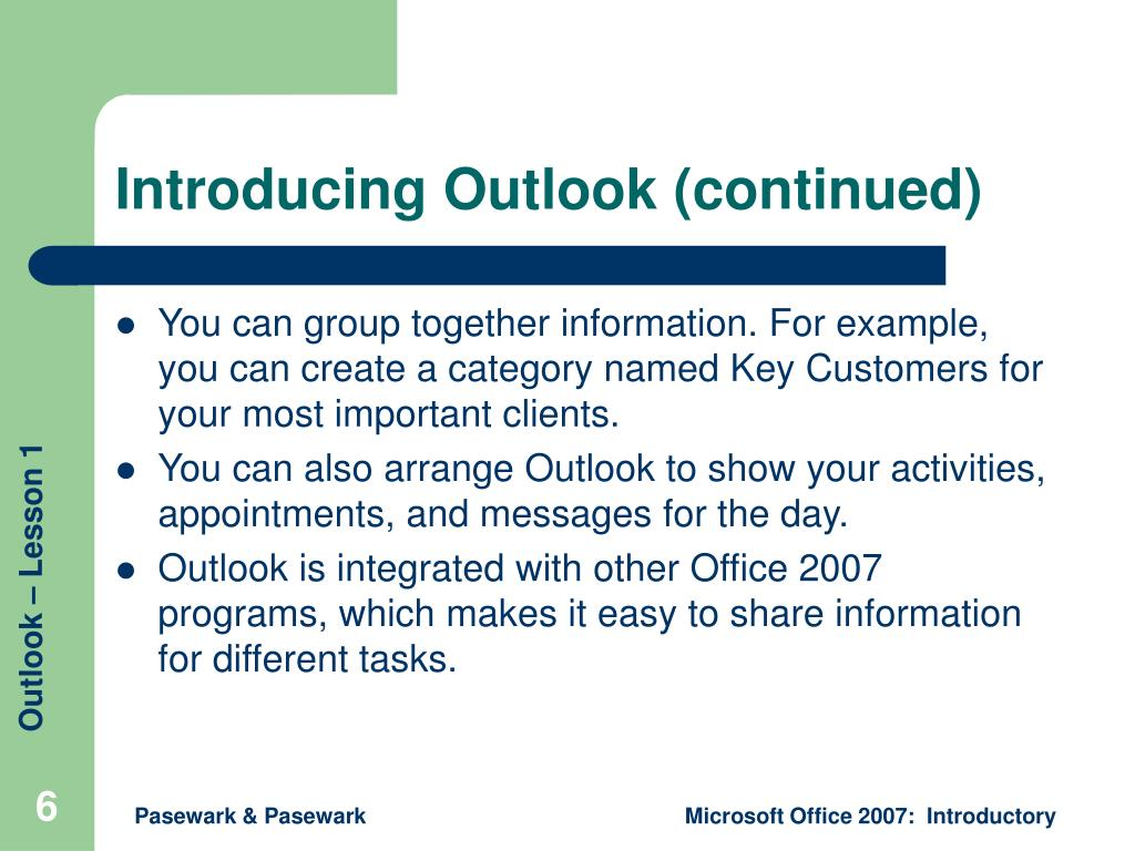 Introducing Outlook (continued)