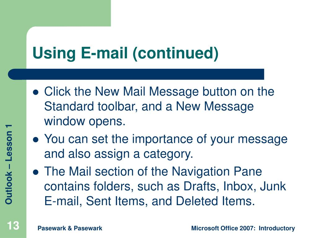 Using E-mail (continued)