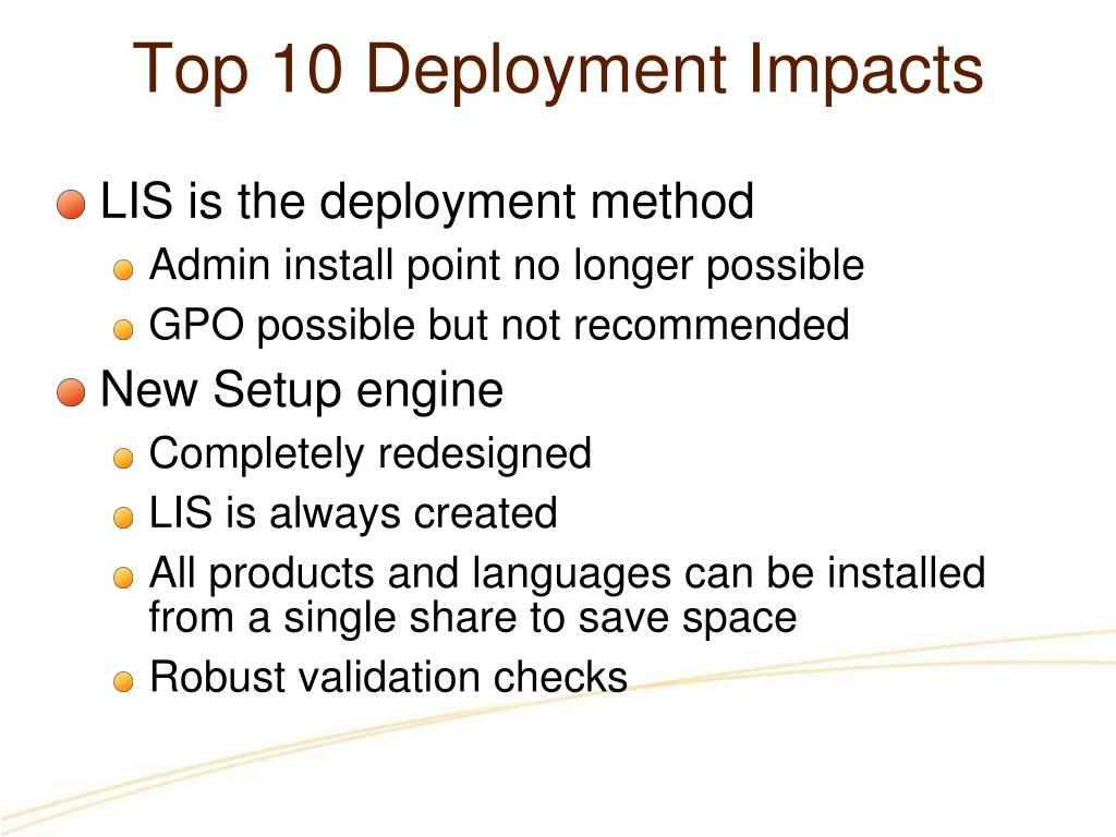 Top 10 Deployment Impacts