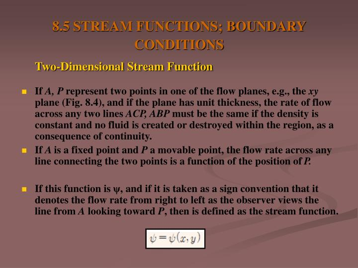 8.5 STREAM FUNCTIONS; BOUNDARY CONDITIONS