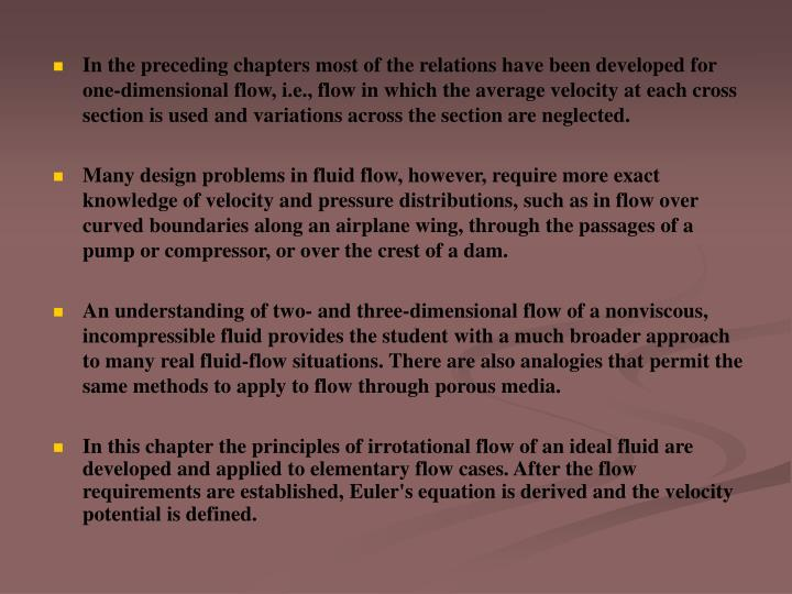 In the preceding chapters most of the relations have been developed for one-dimensional flow, i.e., ...