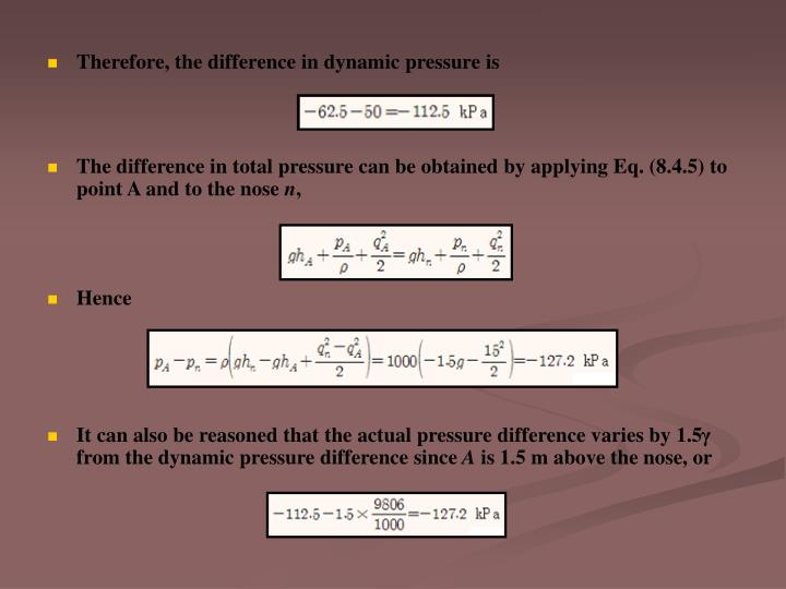 Therefore, the difference in dynamic pressure is