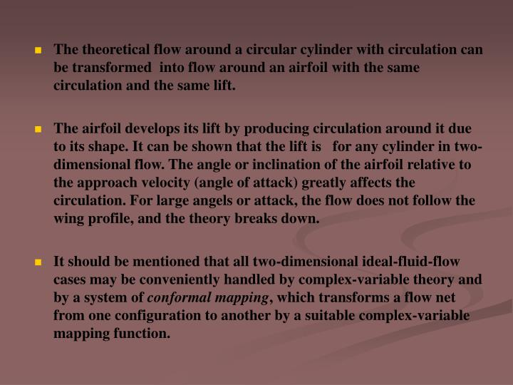 The theoretical flow around a circular cylinder with circulation can be transformed  into flow around an airfoil with the same circulation and the same lift.