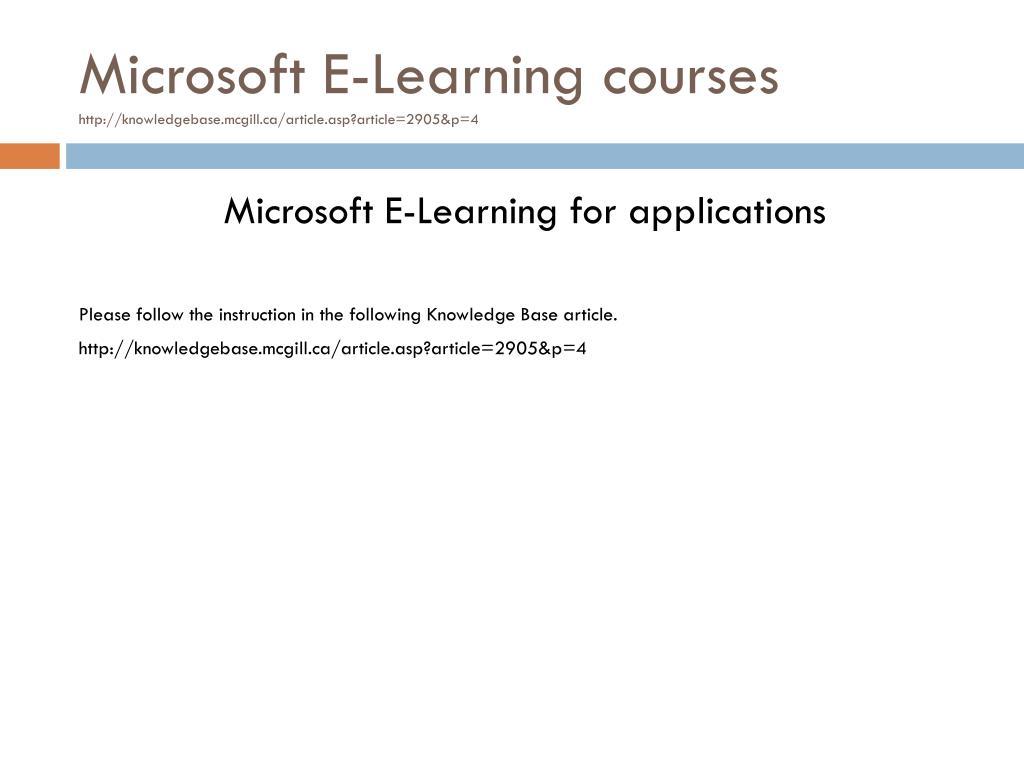 Microsoft E-Learning courses