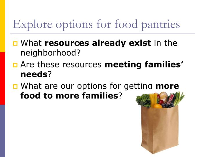Explore options for food pantries