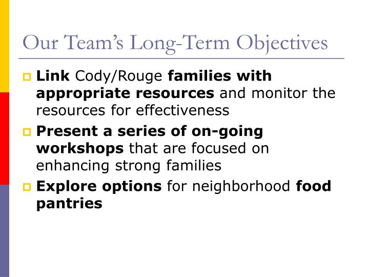 Our Team's Long-Term Objectives
