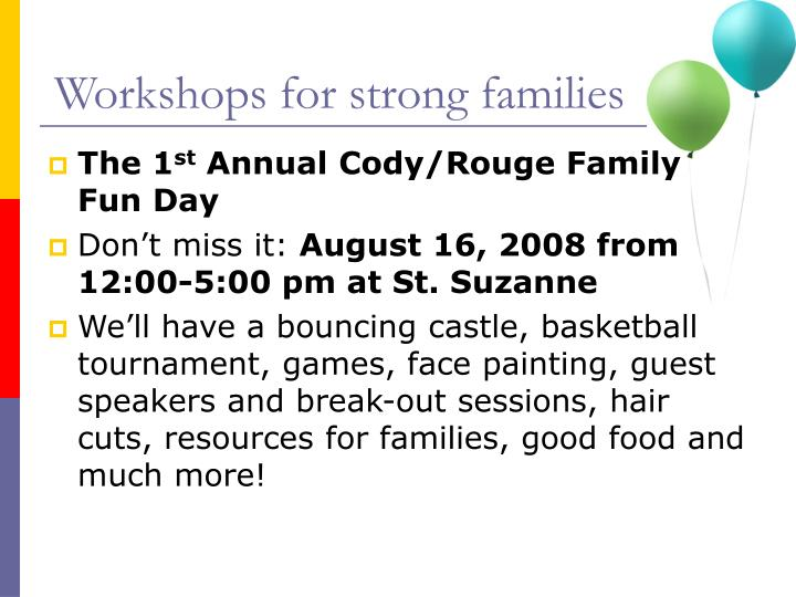 Workshops for strong families