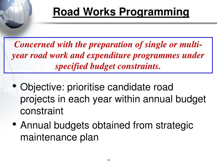 Road Works Programming