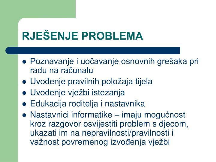RJEŠENJE PROBLEMA