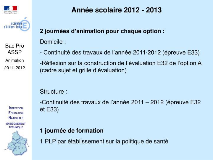 Année scolaire 2012 - 2013
