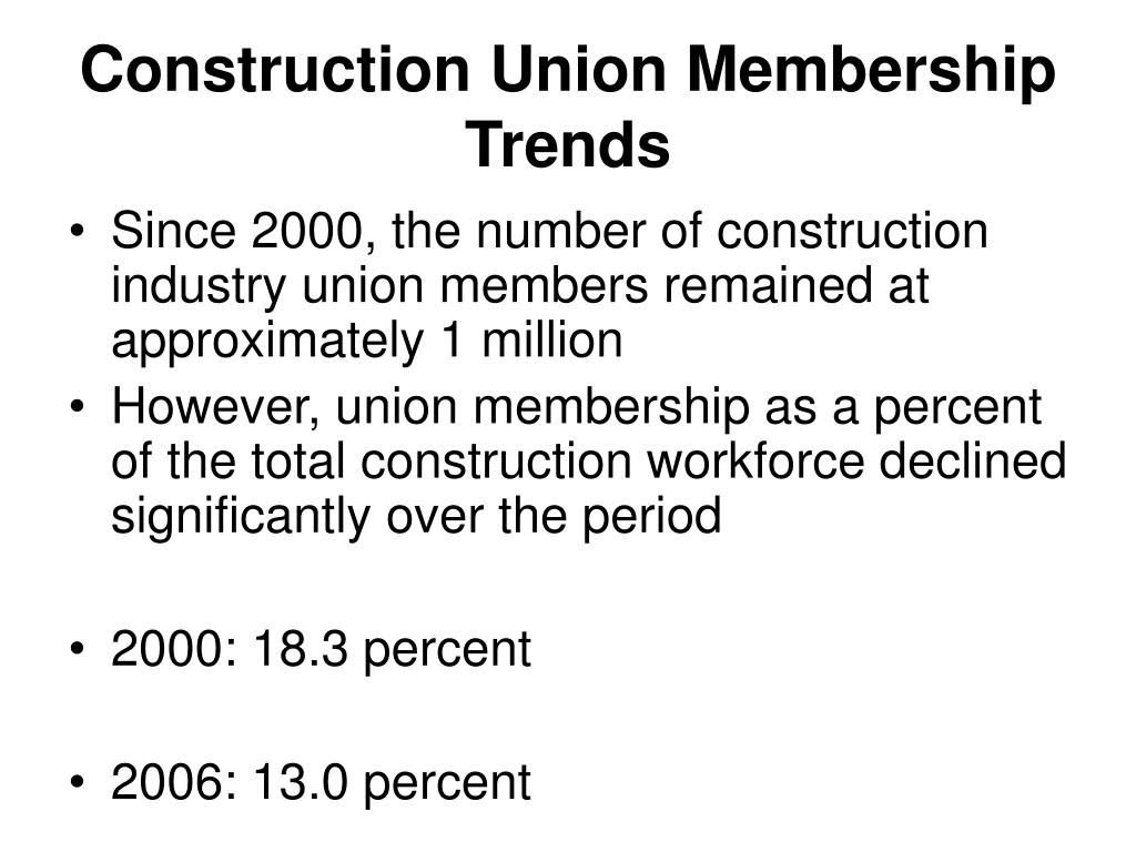 Construction Union Membership Trends