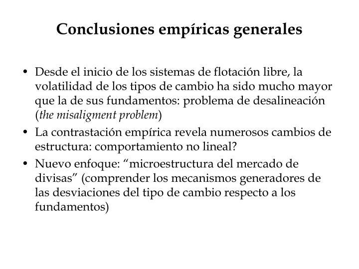Conclusiones empíricas generales