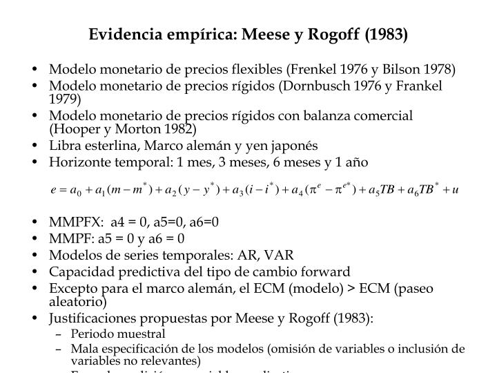 Evidencia empírica: Meese y Rogoff (1983)
