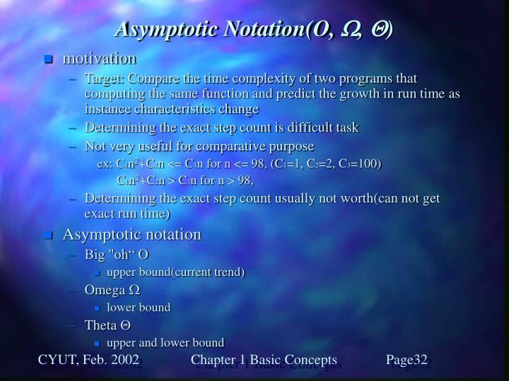 Asymptotic Notation(O,