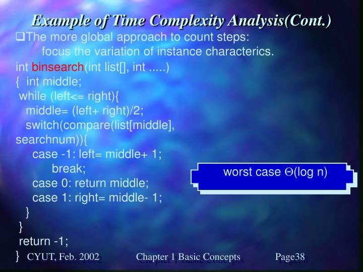 Example of Time Complexity Analysis(Cont.)