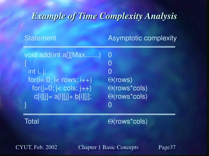 Example of Time Complexity Analysis