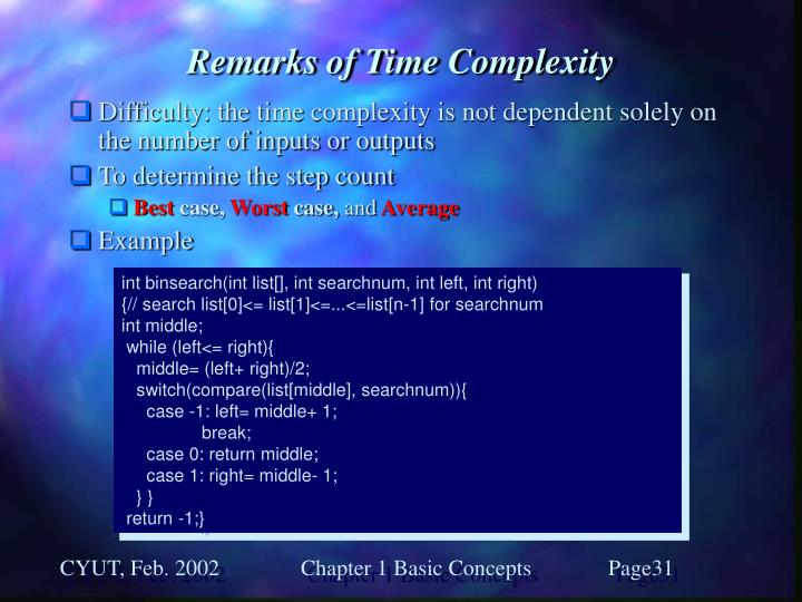 Remarks of Time Complexity