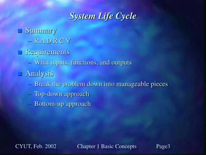 System life cycle