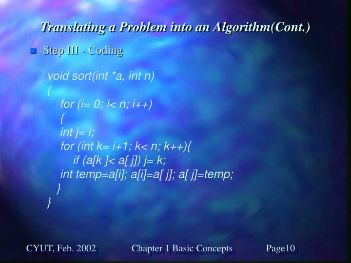 Translating a Problem into an Algorithm(Cont.)