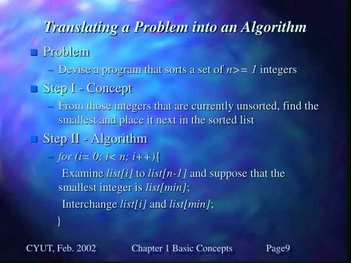 Translating a Problem into an Algorithm